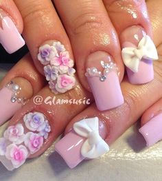 Pink and white floral nails