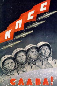 Diseño gráfico (propaganda política) de la carrera espacial soviética I