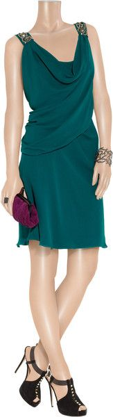 Temperley London Andrea Embellished Silkcrepe Dress in Green - Lyst ~ Love those shoes.