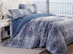 Luxury Blue Floral 4-Piece Cotton Cheap Bedding Set