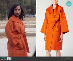 Olivia's orange coat on Scandal.  Outfit Details: https://wornontv.net/56622/ #Scandal
