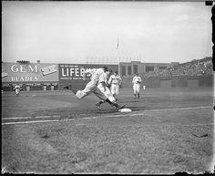 Close play at first, Fenway Park Red Sox Baseball, New York Yankees Baseball, Better Baseball, Baseball Players, Fenway Park, Boston Sports, Boston Red Sox, Badminton Club, Boston Public Library