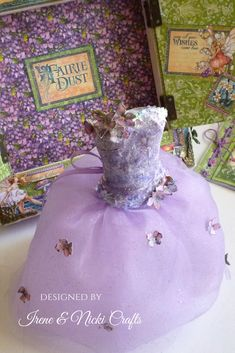 Paper Mache Fairie Dress using Graphic 45 Fairie Dust paper on the bodice and fussy cut the decorative little flowers that are on the bodice and organza skirt Altered Boxes, Little Flowers, Graphic 45, 3d Projects, Brand Ambassador, Handmade Design, Paper Mache, Irene, Bodice
