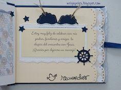 Hola!   Hoy quiero compartir otro libro de firmas que hice para comunión de niño con papeles de Dayka y cartulinas azul almirante.  Para la... Baby Scrapbook, Scrapbook Albums, Scrapbooking Layouts, Signature Book, Diy And Crafts, Paper Crafts, Holidays And Events, Mini Albums, Baby Shower