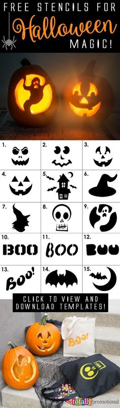 Free Halloween stencils for Halloween Magic! These stencils can be used on pumpkins, bags & more! We even show you how to use these with step by step instructions! Click to view and download these templates to make your Halloween fun and magical!