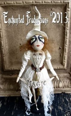 PFATT Primitive Folk Art Winter White Magic Witch Spindle Doll Joyce Stahl EHAG *All Rights Reserved*