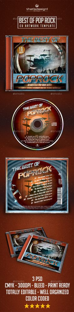 Best of Pop Rock CD Artwork Template ...  album, artist, band, blues, cd, cd artwork, cd psd, cd template, compilation, cover, disk, dj, dvd, flyer, gospel, indie, lou606, mixtape, music, musician, pop, pop rock, poster, retro, rock, rock concert, singer, soul, vintage, vinyl
