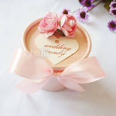 Pink Favor Box With Bow (Set of 12) - GBP £ 5.14