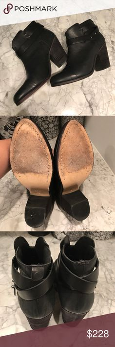 Rag & Bone Harrow Booties Black 39 Rag & Bone Harrow booties. Black leather. Size 39...these would fit 8-8.5 best. Worn once, still in amazing condition. No box or bag. One of the little tabs on the back is missing (see third pic.) No trades. rag & bone Shoes Ankle Boots & Booties