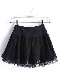 Black Flowers Elastic Mid Waist Short Lace Skirt