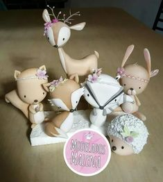 Animales Del Bosque - $ 380,00 Crochet Toys Patterns, Stuffed Toys Patterns, Fondant Animals, Crochet Dragon, Baby Mine, Mermaid Cakes, Woodland Christmas, Clay Figures, Decorated Jars