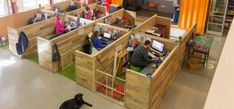 Inside the World's Most Dog-Friendly Office - Dog beds? Kitchen stocked with puppy treats? A special pet shower for those muddy paws? But, of course. Anything your pooch could want, Massachusetts startup Kurgo has got it covered. Shipping Container Office, Shipping Container Design, Shipping Containers, Salisbury, Office Dog, Office Cube, Mini Office, Office Space Design, Office Designs