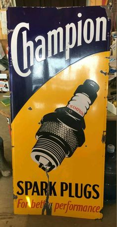 Rare Original Champion Spark Plugs Porcelain Sign