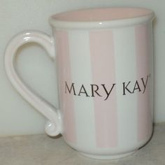 MARY KAY MUG Consultant Pink White Stripes Gold Letter Coffee Cup