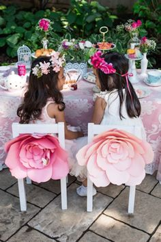 Kids table: Two Guests at a High Tea Party via Kara's Party Ideas | karaspartyideas.com