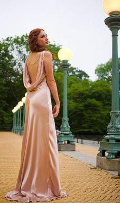Ella Bridal Gown, Floor Grazing, 1930s Inspired Bias Cut, Silk Satin, Backless, low back, customizable
