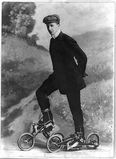 Young man on roller skates that are pedaled. Nov. 8, 1910.