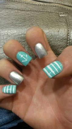 Rimmel London Mintilicious nail polish with glitter, white strips white anchor nail design! :)