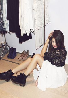 white dress with little black lace top and black ankle boots