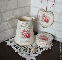 Подарок для любимой. Набор для подарка: леечка-кувшинчик, шкатулка и сердечко интерьерное в нежном кремовом…