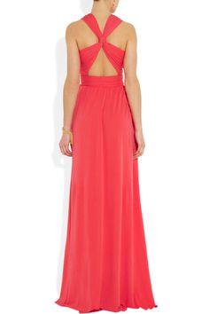 Love the back of this dress!! Issa|Cross-back silk-jersey gown|NET-A-PORTER.COM