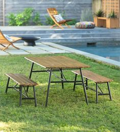 Clover Hill Picnic Table With Metal Frame and Movable Benches - Natural | PlowHearth