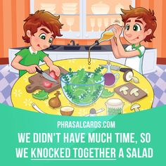 """Knock together"" means ""to make something ​quickly and without much ​care"". Example: We didn't have much time, so we knocked together a salad. #phrasalverb #phrasalverbs #phrasal #verb #verbs #phrase #phrases #expression #expressions #english #englishlanguage #learnenglish #studyenglish #language #vocabulary #dictionary #grammar #efl #esl #tesl #tefl #toefl #ielts #toeic #englishlearning #vocab #wordoftheday #phraseoftheday"