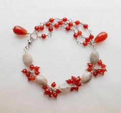 Vivien gemstone beaded bracelet gray red dainty layering yoga