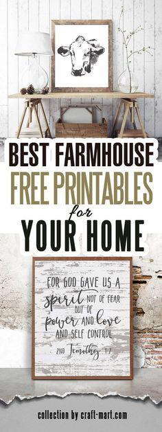 Over 100 free Farmhouse Printables Fixer-Upper Style - . Over 100 Free Farmhouse Printables Fixer-Upper Style - The d. Farmhouse Wall Art, Country Farmhouse Decor, Farmhouse Design, Rustic Decor, Farmhouse Style, Farmhouse Ideas, Modern Farmhouse, Vintage Farmhouse Décor, Country Wall Art