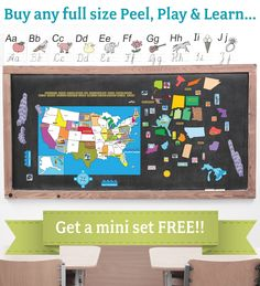 """Buy a full size (40"""" x 24"""") Peel, Play & Learn Wall Play Set and get a matching mini set FREE! 43% off!! Full size sets make unique holiday gifts and mini sets are perfect stocking stuffers."""