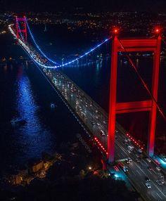 Illuminated Fatih Sultan Mehmet Bridge in . Antalya, Brooklyn Bridge, Sultan Ahmed Mosque, Bosphorus Bridge, Turkey Places, Bridge Painting, Istanbul Travel, Blue Mosque, Turkey Travel
