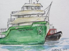 Great Lake Freighter Watercolor ACEO, Artist Trading Card. $7.50, via Etsy.
