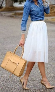 Just a pretty style | Latest fashion trends: Fashion trends | Chambray shirt, sheer chic white skirt, tan heels and animal prints belt