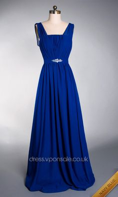 """This would be nice for us """"gifted"""" ladies. No chance of boobs popping out  Especial Emprie Waist Long Chiffon Prom Dress VPW279"""