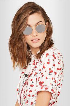 1a6711b454 Illesteva Mykonos round-frame gold-tone mirrored sunglasses Round Lens  Sunglasses