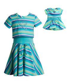 Turquoise Stripe Heart Layered Dress & Doll Dress - Girls #zulily #zulilyfinds