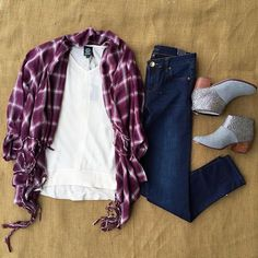 Take your plaid wardrobe to a new level with this adorable kimono!  | Plaid kimono $59 | Basic tee $45 | Dark wash Diana skinny $88 | @toms Booties $98 | #fallfavorites #instastyle #shopjuneandbeyond #juneandbeyond #OOTD #newarrivals