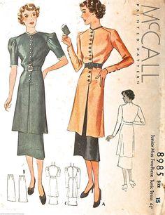 McCall 8985 | ca. 1936 Junior Miss Two-Piece Tunic Dress