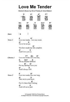 Piano Chords How To Play Love Me Tender sheet music by Elvis Presley (Ukulele Lyrics Guitar Chords And Lyrics, Guitar Chords For Songs, Ukulele Tabs, Beatles Songs, Guitar Songs, Elvis Lyrics, Elvis Presley Lyrics, Ukulele Songs Beginner, Guitar Lessons For Beginners