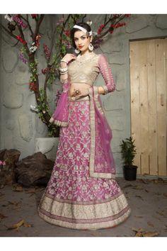 Designer Magenta Pink Net Lehenga Choli - 19519