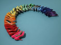 A rainbow made of shoes. Every woman's dream.