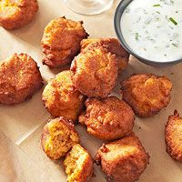 Sweet Potato Fritters with Yogurt-Chive Dipping Sauce