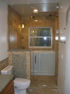 Steam Showers: like the half tile wall to hide the toilet