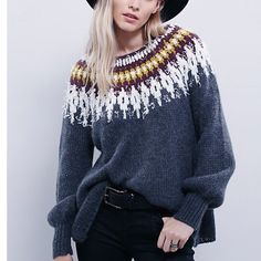 ️Oversized Slouchy  Boyfriend Free People  Sweater Gray Beautiful fair isle detailed Free People sweater tunic pullover . Love the style of this sweater and looks great with denim of leggings . Free People Sweaters