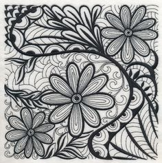 Floral Elegance (Blackwork). Swirling black lines make a one-color square elegant and unique on pillow covers, wall hangings, lightweight towels, and more.