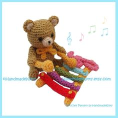 Kuma Kun Bear playing the Xylophone Amigurumi PDF Crochet Pattern by HandmadeKitty