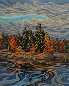 Stoney Lake by Patrick Markle Studio.  This 11X14 inch print captures the spirit of an Ontario autumn in cottage country. The lake depicted is Stoney Lake just North of Peterborough Ontario Kawartha Region. The reproduction comes signed, matted and backed to 16X20.