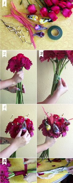 make your own bouquet...have a bouquet making party with your bridal party after the rehearsal dinner!   Pinned this because of the bird, maybe I will do this with a little red bird...