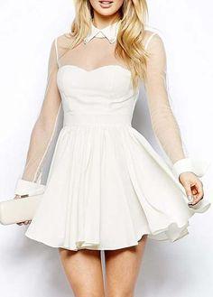 Chic White Chiffon Long Sleeve Skater Dress