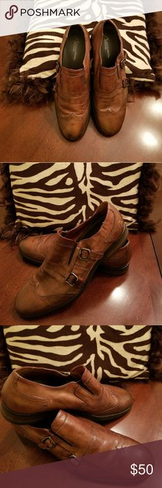 Men's designer shoes Top of the line Bacco Bucci casual/dress shoes. Rustic brown slip on with  2 side buckles. Excellent condition. Bacco Bucci Shoes Loafers & Slip-Ons